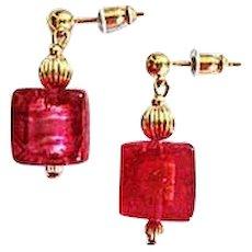 Dazzling Venetian Art Glass Earrings, 24K Gold Foil, Murano Glass Beads