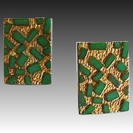 Gorgeous Czech Art Glass Pierced Earrings, RARE 1940's Czech 24K Gold Foil Glass Beads