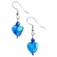 Stunning Venetian Millefiori Art Glass Earrings, Hearts, Flower,  Turquoise & White Murano Glass Beads