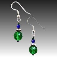 Gorgeous Green Czech Art Glass Earrings, RARE 1950's Faceted Czech Beads