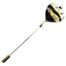 Stunning Heart Venetian Art Glass Stick Pin, 24K Gold Foil Murano Glass Bead, Hat Pin