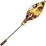 Stunning Venetian Art Glass Stick Pin, Murano Glass Bead, 24K Gold Foil & Brown Swirls, Hat Pin