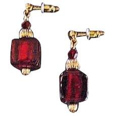 Gorgeous Red Venetian Art Glass Earrings, 24K Gold Foil Murano Glass Beads