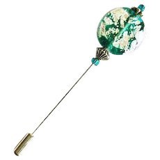 Stunning Silver Foil Venetian Glass Stick Pin, Teal Murano Glass Bead, Hat Pin