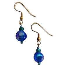 DAZZLING Blue Czech Art Glass Earrings, RARE 1960's Metallic Czech Glass Beads