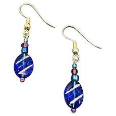MOD Blue Czech Art Glass Earrings, RARE 1960's Czech Glass Beads