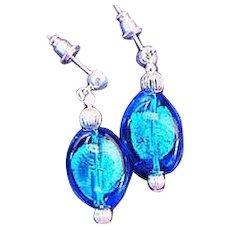 GORGEOUS Aegean Blue Venetian Art Glass Earrings,  Silver Foil Murano Glass Beads
