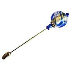 STUNNING Venetian Art Glass Stick Pin, Murano Glass Bead, 24K Gold Foil, Blue Swirl, Hat Pin