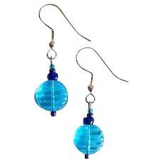 MOD Turquoise Czech Art Glass Earrings, RARE 1960's Czech Glass Beads
