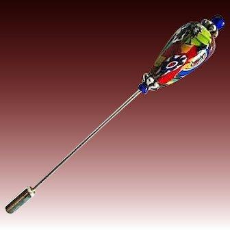 GORGEOUS Millefiori Venetian Art Glass Stick Pin, RARE 1800's Venetian Glass Bead, Antique Bead, Hat Pin
