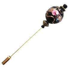 STUNNING Black Venetian Art Glass Stick Pin, RARE 1940's Aventurina Wedding Cake Bead, Hat Pin