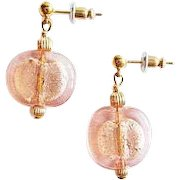 STUNNING Pink Venetian Art Glass Earrings, 24K White Gold Foil Murano Glass Lentil Beads