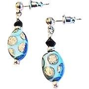STRIKING Venetian Glass Earrings, RARE 1930's Art Deco Venetian Beads, Satin Glass