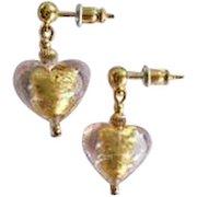 STUNNING Venetian Art Glass Earrings, Pink 24K Gold Foil Murano Glass Hearts