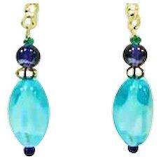 MOD Czech Art Glass Earrings, RARE Aquamarine 1960's Czech Glass Beads