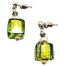 DAZZLING Venetian Art Glass Earrings, Peridot Green 24K Gold Foil Murano Glass Beads, Cubes