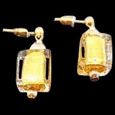 STUNNING Venetian Art Glass Earrings, 24K Gold Foil Murano Glass Beads, Cubes