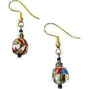 STRIKING German Art Glass Earrings, RARE 1940's Faceted German Glass Beads