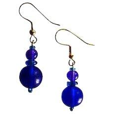 MOD Czech Art Glass Earrings, RARE 1960's Czech Glass Beads, Brilliant Cobalt Blue Frosted Czech Beads