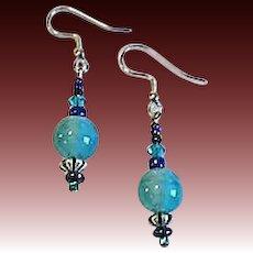 STUNNING Art Deco Venetian Glass Earrings, RARE 1930's Teal Satin Glass Venetian Beads