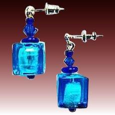 DAZZLING Venetian Art Glass Earrings, Aegean Blue Silver Foil Murano Glass Beads, Cubes