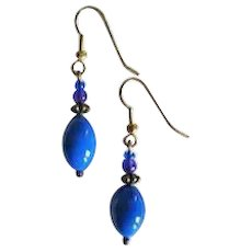GORGEOUS Czech Art Glass Earrings, RARE 1930's Czech Glass Beads, Periwinkle Blue