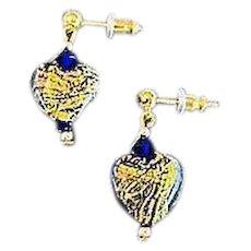GORGEOUS Venetian Art Glass Earrings, Cobalt Blue 24K Gold Foil Murano Glass Heart Beads