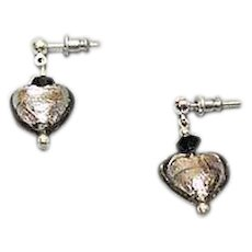 FABULOUS Venetian Art Glass Earrings, Silver Foil Hearts, Charcoal Gray Murano Glass Heart Beads