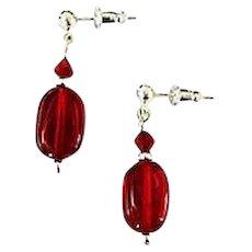 FABULOUS Red Czech Art Glass Earrings, RARE 1940's Czech Glass Beads