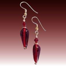 GORGEOUS Red Czech Art Glass Earrings, RARE 1940's Czech Glass Beads