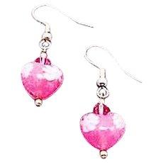 STUNNING Venetian Millefiori Art Glass Earrings, Hearts, Pink & White Murano Glass Beads, Venetian Millefiori Beads