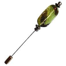 GORGEOUS West German Art Glass Stick Pin, RARE 1940's German Pressed Glass Bead, Hat Pin