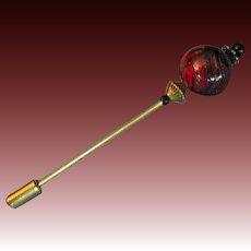 STUNNING Red Venetian Art Glass Stick Pin, Aventurine Venetian Glass Bead, Hat Pin