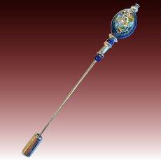 GORGEOUS Blue Czech Art Glass Stick Pin, RARE 1970's Czech Silver Foil Bead