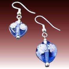 STUNNING Venetian Millefiori Art Glass Earrings, Hearts, Sapphire Murano Glass Beads