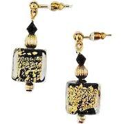 DAZZLING Black Venetian Art Glass Earrings, 24K Gold Foil Murano Glass Beads, Cubes