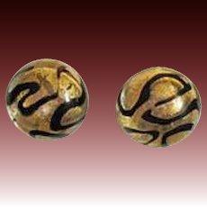 DAZZLING Venetian Art Glass Earrings, 24K Gold Foil Murano Glass Beads, Pierced Earrings, Cabochon Beads