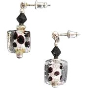 DAZZLING Venetian Art Glass Earrings, Black and Silver Foil Murano Glass Beads, Cubes