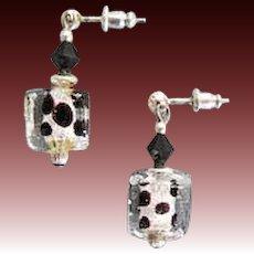 DAZZLING Venetian Art Glass Earrings, Black and Silver Foil Murano Glass Beads, Cubes
