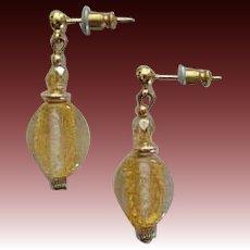 STUNNING Venetian Art Glass Earrings, 24K Gold Foil Murano Glass Beads, Champagne Yellow Vintage Crystals