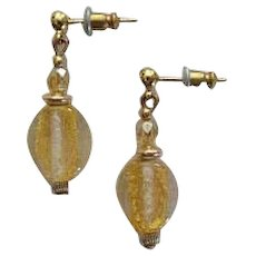 STUNNING Venetian Art Glass Earrings, 24K Gold Foil Murano Glass Beads, Champagne Yellow Vintage Crystals