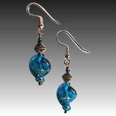 DAZZLING Aventurine Venetian Art Glass Earrings, Turquoise Murano Glass Beads