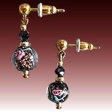 GORGEOUS Black Venetian Art Glass Earrings, SCARCE Vintage Aventurine Murano Glass Beads