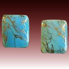 STUNNING Turquoise Czech Art Glass Pierced Earrings, RARE 1940's Czech Glass Beads