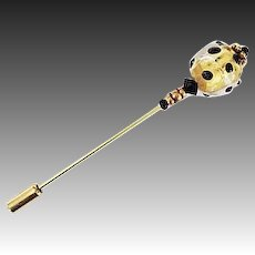 GORGEOUS Venetian Art Glass Stick Pin, 24K Gold Foil Murano Glass Bead, Hat Pin