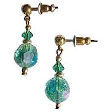 STUNNING Green Austrian Crystal Glass Earrings, RARE 1950's Austrian Crystal Beads