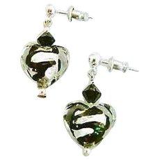 DAZZLING Venetian Art Glass Earrings, Black Swirl Silver Foil Murano Glass Heart Beads