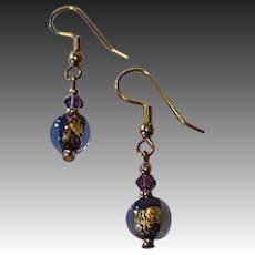 FABULOUS Purple Venetian Art Glass Earrings, 24k Gold Foil Lampwork Murano Glass Beads
