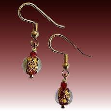 GORGEOUS Red Venetian Art Glass Earrings, 24k Gold Foil Lampwork Murano Glass Beads