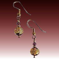 GORGEOUS Venetian Art Glass Earrings, 24k Gold Foil Lampwork Murano Glass Beads, Mauve Purple